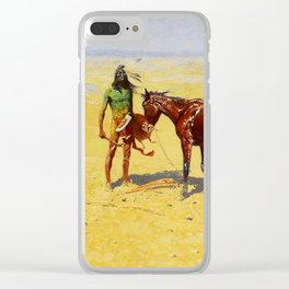 """Frederic Remington Western Art """"Hunted Down"""" Clear iPhone Case"""