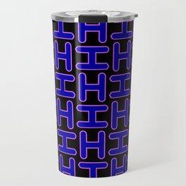 Color Solid Fill Style Hi Pattern Alphabet Lettering Travel Mug