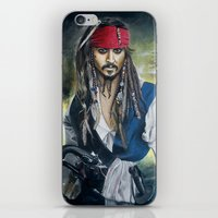jack sparrow iPhone & iPod Skins featuring Captain Jack Sparrow by zlicka