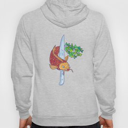 Koi Nishikigoi Carp Fish Microgreen Tail Knife Drawing Hoody