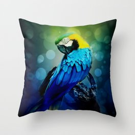 Macaw on branch Throw Pillow
