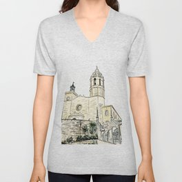 Stairs to the Beach from a medieval Church in Sitges near Barcelona Unisex V-Neck