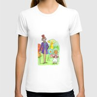 willy wonka T-shirts featuring Pure Imagination: Willy Wonka & Oompa Loompa by Michael Richey White by lost robot