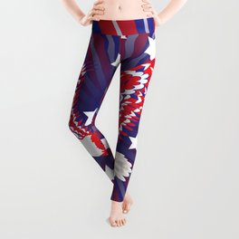 Blue red and white bald eagle with stars Leggings