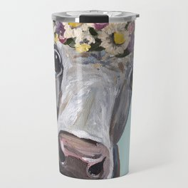 Cow Art Print, Flower Crown Cow Art Travel Mug