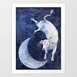The Cow Jumped Over The Moon - II Art Print