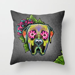 Mastiff in Fawn - Day of the Dead Sugar Skull Dog Throw Pillow