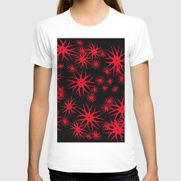 A pattern red with stars and snowflakes, a deep space in volume. T-shirt