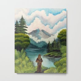 """Mystic Mountain, Kashyyyk"" (Bob Ross-style StarWars painting) Metal Print"