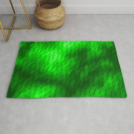Line texture of green oblique dashes with a bright intersection on a luminous charcoal. Rug