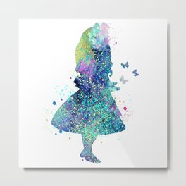 Watercolor Slatter Alice In Wonderland Metal Print