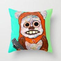 ewok Throw Pillows featuring Eccentric Ewok by Jordan Soliz
