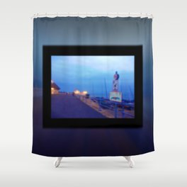 Seaside scene blurry Shower Curtain