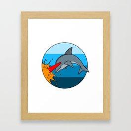 Laser Dolphin 1980s Retro Sci-Fi Design Framed Art Print