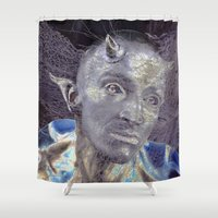 devil Shower Curtains featuring BLUE DEVIL by CAPTAINSILVA