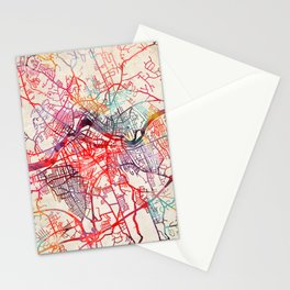Lowell map Massachusetts painting Stationery Cards