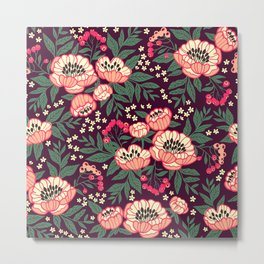 11 Floral pattern with peonies.Bright pink flowers. Dark violet background. Metal Print
