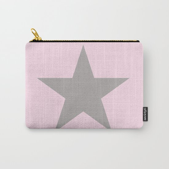 Grey star on pink background Carry-All Pouch