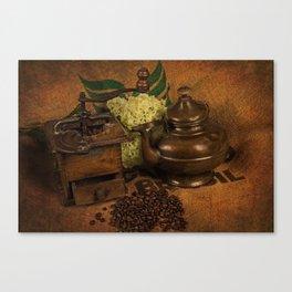 Vintage coffee grinder and pot Canvas Print