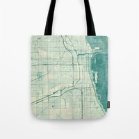 chicago map Tote Bags featuring Chicago Map Blue Vintage by City Art Posters
