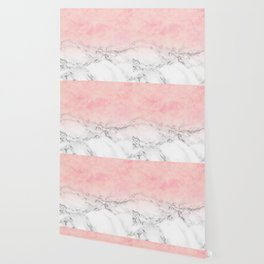 Modern blush pink watercolor ombre white marble Wallpaper
