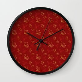 Holy Berries Red and Gold Wall Clock