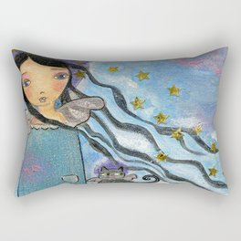 In Heaven with my Cat by Flor Larios Rectangular Pillow