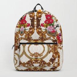 Baroque Inspired Floral Print Luxury Golden DECORATIVE EUROPEAN Design Backpack