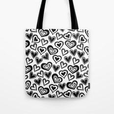 MESSY HEARTS: BLACK Tote Bag