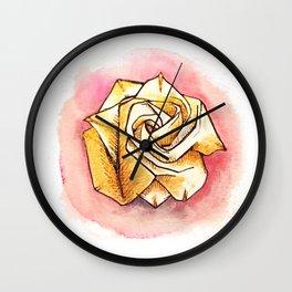 Gold origami rose Wall Clock