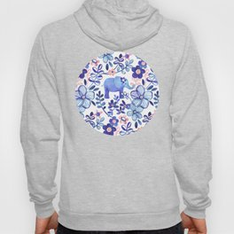 Pale Coral, White and Purple Elephant and Floral Watercolor Pattern Hoody