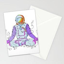 Cosmonaut Padmasana Position Doodle Stationery Cards