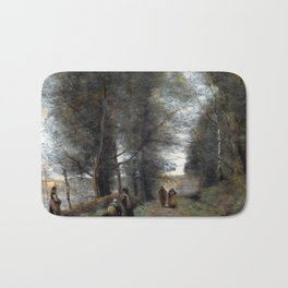 Jean-Baptiste-Camille Corot Ville d'Avray, Woodland Path Bordering the Pond Bath Mat