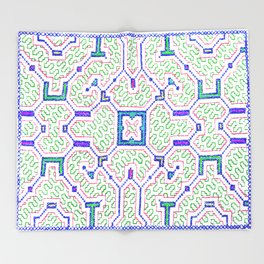 The Song to Support Spiritual Growth - Traditional Shipibo Art - Indigenous Ayahuasca Patterns Throw Blanket