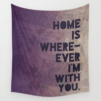 font Wall Tapestries featuring With You by Leah Flores