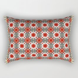 V12 Red Traditional Moroccan Rug Pattern. Rectangular Pillow