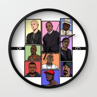hiphop Wall Clocks featuring HipHop Legends by Akyanyme