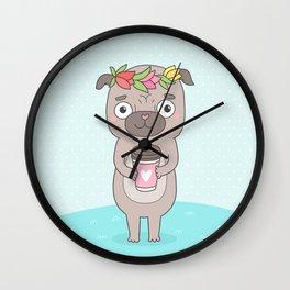 Pug and coffee Wall Clock