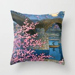 12,000pixel-500dpi - Kawase Hasui - Kintai Bridge Night Spring - Digital Remastered Edition Throw Pillow