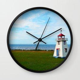 Long Bridge and Tiny Lighthouse Wall Clock