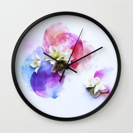 Hellebores on water colors Wall Clock