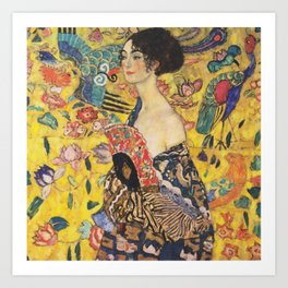 Gustav Klimt Lady With Fan  Art Nouveau Painting Art Print
