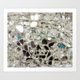 An Explosion of Sparkly Silver Glitter, Glass and Mirror Art Print