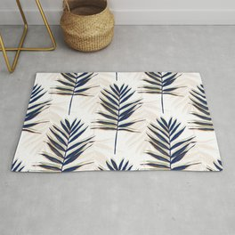 Modern Blue Palm Leaves Gold Strokes White Design Rug