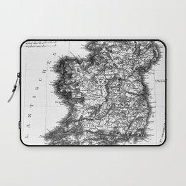 Vintage Black and White Ireland MAp Laptop Sleeve