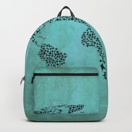 Teal Star World Map Backpack