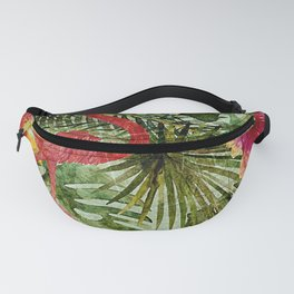 Tropical Vintage Exotic Jungle- Floral and Flamingo watercolor pattern Fanny Pack