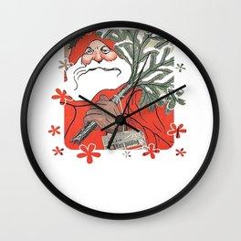 Santa Claus Delivering Christmas Pudding Kerstpudding Vector Wall Clock