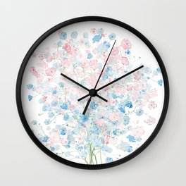 light pink and blue Baby Breath Bouquet gypsophila watercolor painting  Wall Clock