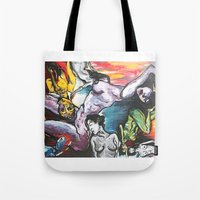 gravity Tote Bags featuring Gravity by Lily Mandaliou